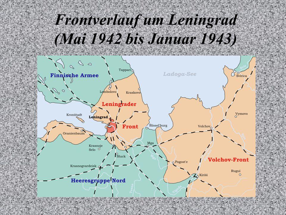 Frontverlauf um Leningrad (Mai 1942 bis Januar 1943)