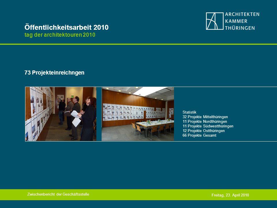 Öffentlichkeitsarbeit 2010 tag der architektouren 2010 73 Projekteinreichngen Zwischenbericht der Geschäftsstelle Freitag, 23.