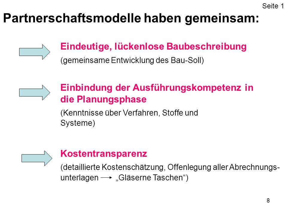 9 Partnerschaftsmodelle haben gemeinsam: gemeinsames Projektcontrolling (Formulierung gemeinsamer Ziele, gemeinsame Kontrolle) von vornherein festgelegte Konfliktlösungsmodelle (Mediation, Schiedsgerichte) Seite 2