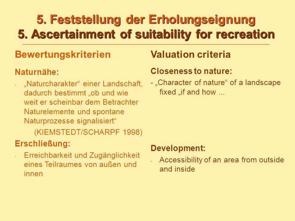 5. Feststellung der Erholungseignung 5. Ascertainment of suitability for recreation 5. Feststellung der Erholungseignung 5. Ascertainment of suitabili