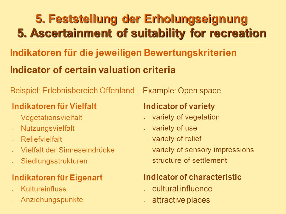 5. Feststellung der Erholungseignung 5. Ascertainment of suitability for recreation 5.