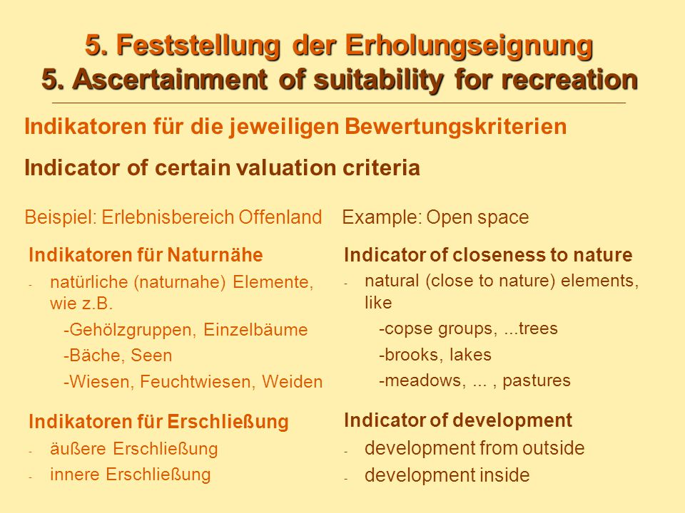 5.Feststellung der Erholungseignung 5. Ascertainment of suitability for recreation 5.