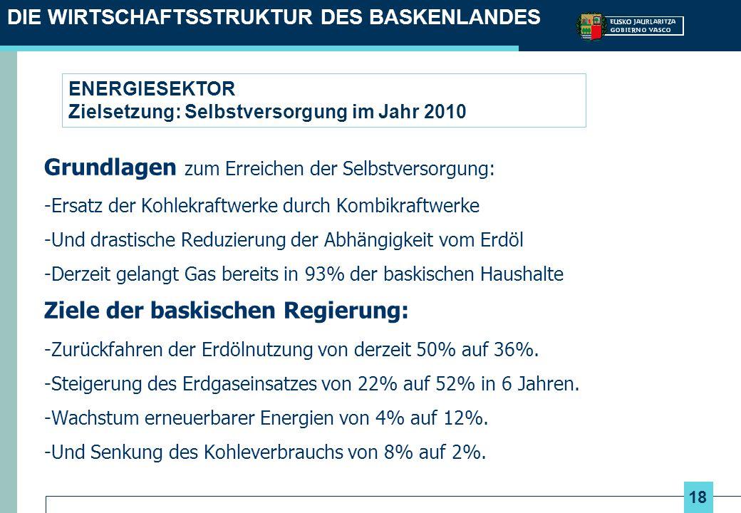 18 ENERGIESEKTOR Zielsetzung: Selbstversorgung im Jahr 2010 Grundlagen zum Erreichen der Selbstversorgung: -Ersatz der Kohlekraftwerke durch Kombikraf