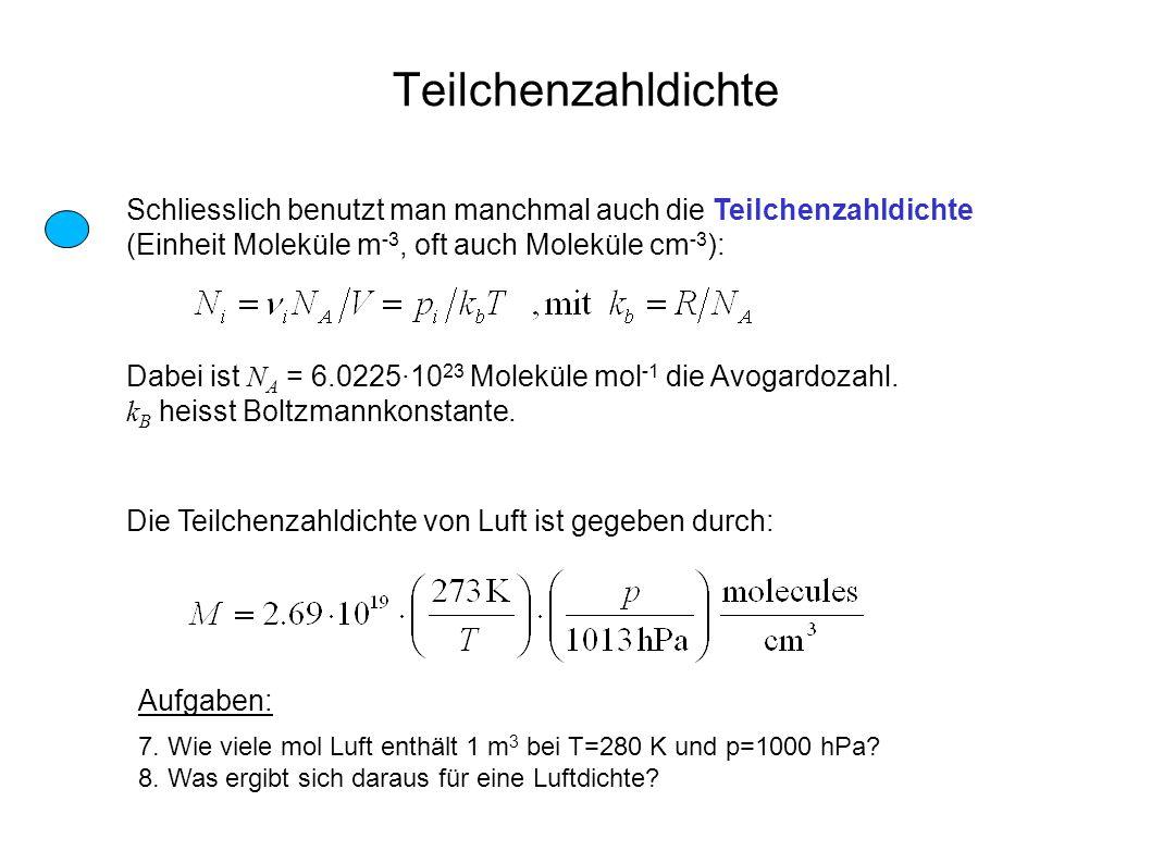 Teilchenzahldichte Schliesslich benutzt man manchmal auch die Teilchenzahldichte (Einheit Moleküle m -3, oft auch Moleküle cm -3 ): Die Teilchenzahldi