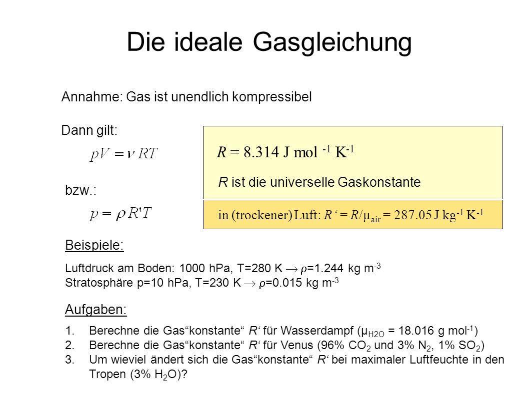 Die ideale Gasgleichung Annahme: Gas ist unendlich kompressibel Dann gilt: bzw.: Beispiele: Luftdruck am Boden: 1000 hPa, T=280 K =1.244 kg m -3 Strat