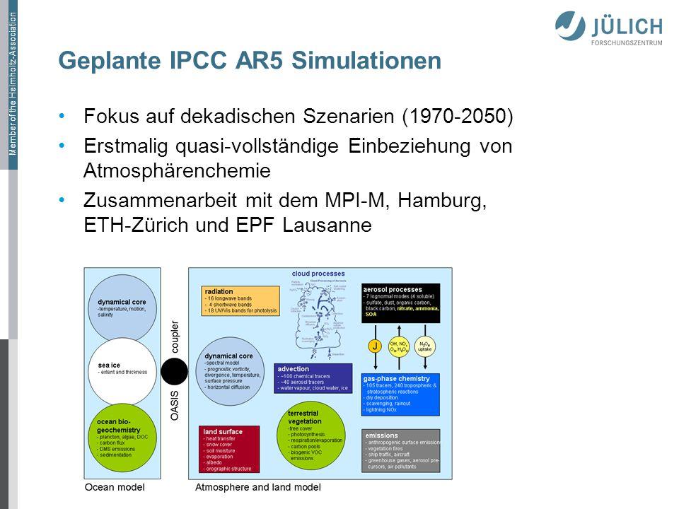 Member of the Helmholtz-Association Geplante IPCC AR5 Simulationen Fokus auf dekadischen Szenarien (1970-2050) Erstmalig quasi-vollständige Einbeziehung von Atmosphärenchemie Zusammenarbeit mit dem MPI-M, Hamburg, ETH-Zürich und EPF Lausanne