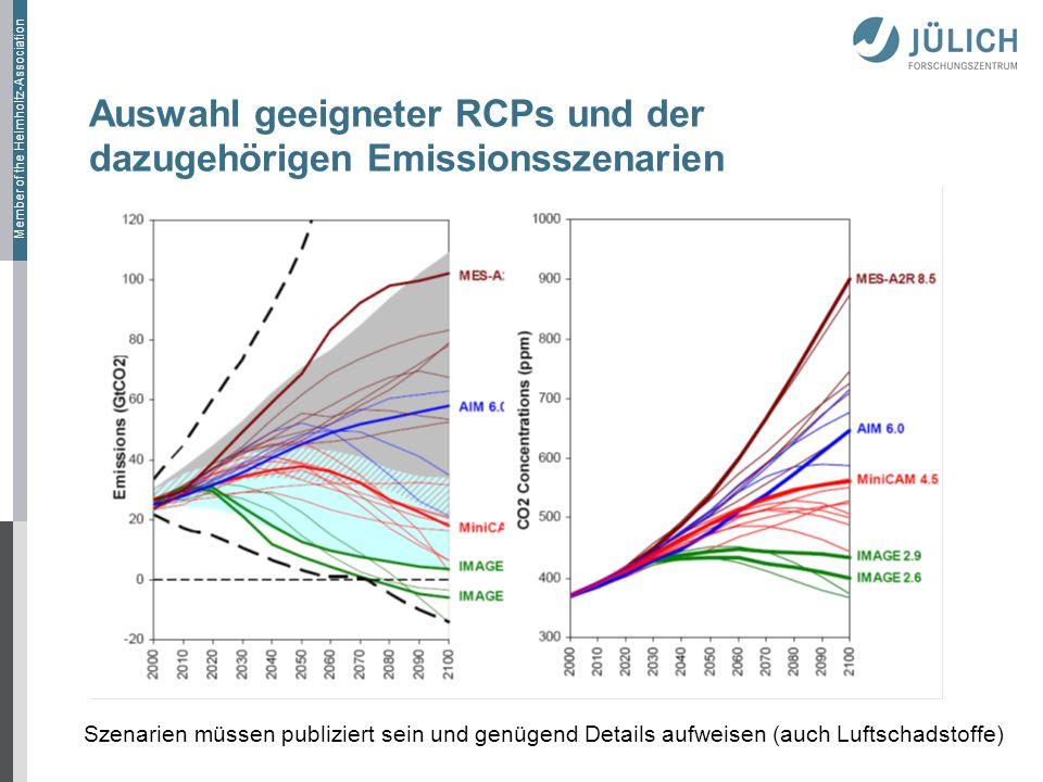 Member of the Helmholtz-Association Auswahl geeigneter RCPs und der dazugehörigen Emissionsszenarien Szenarien müssen publiziert sein und genügend Details aufweisen (auch Luftschadstoffe)