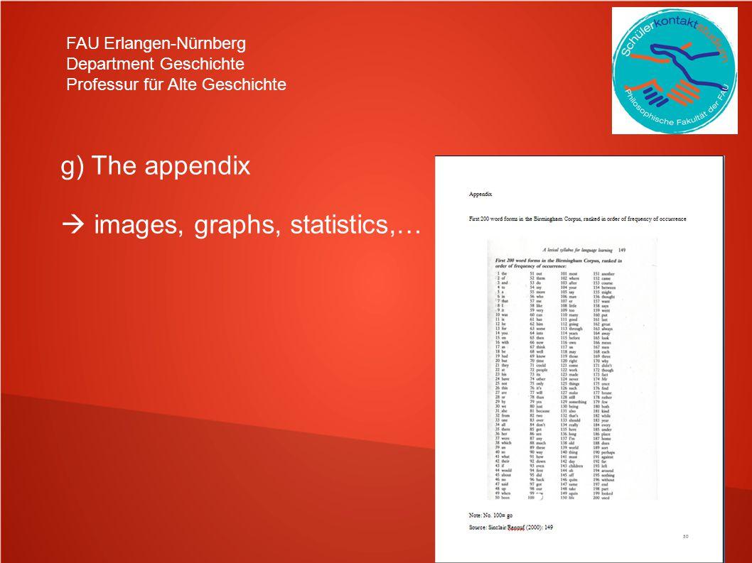 FAU Erlangen-Nürnberg Department Geschichte Professur für Alte Geschichte g) The appendix images, graphs, statistics,…