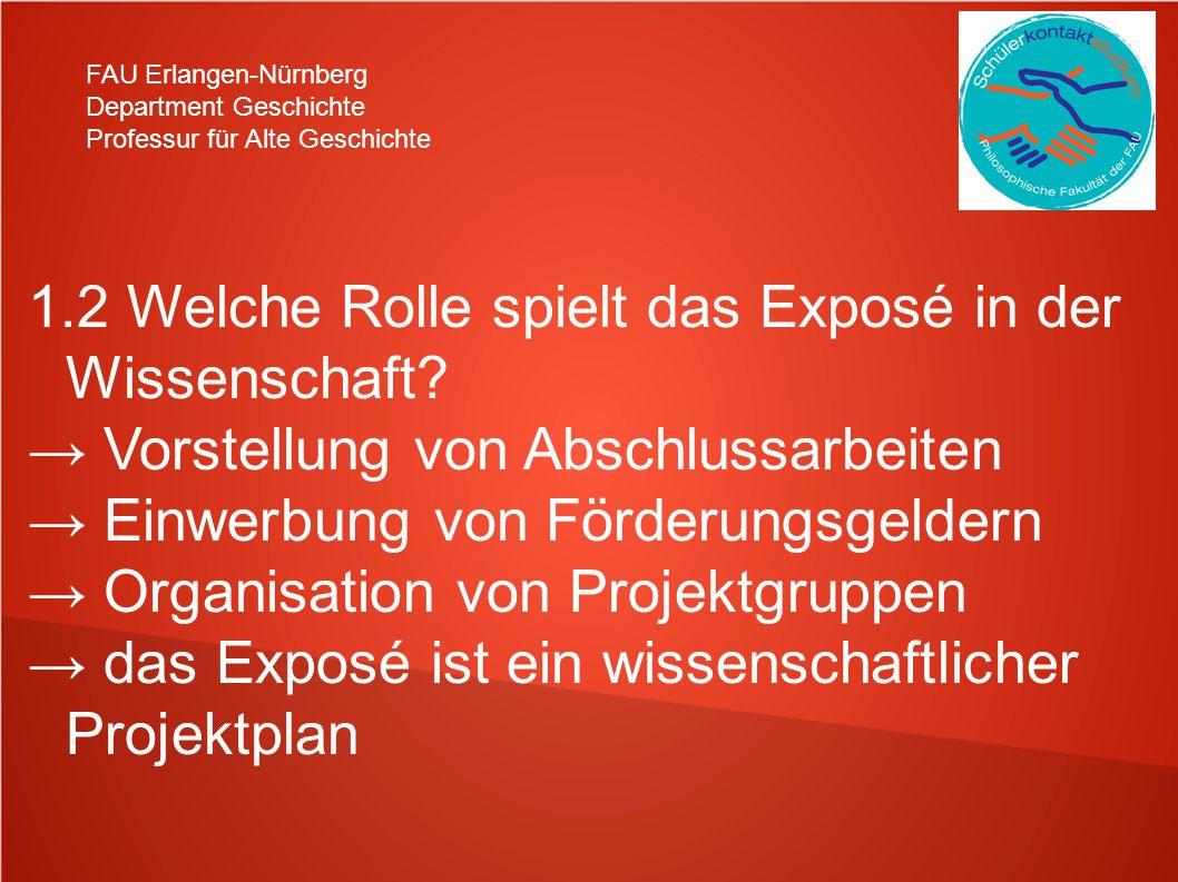 FAU Erlangen-Nürnberg Department Geschichte Professur für Alte Geschichte 1.2 Welche Rolle spielt das Exposé in der Wissenschaft? Vorstellung von Absc