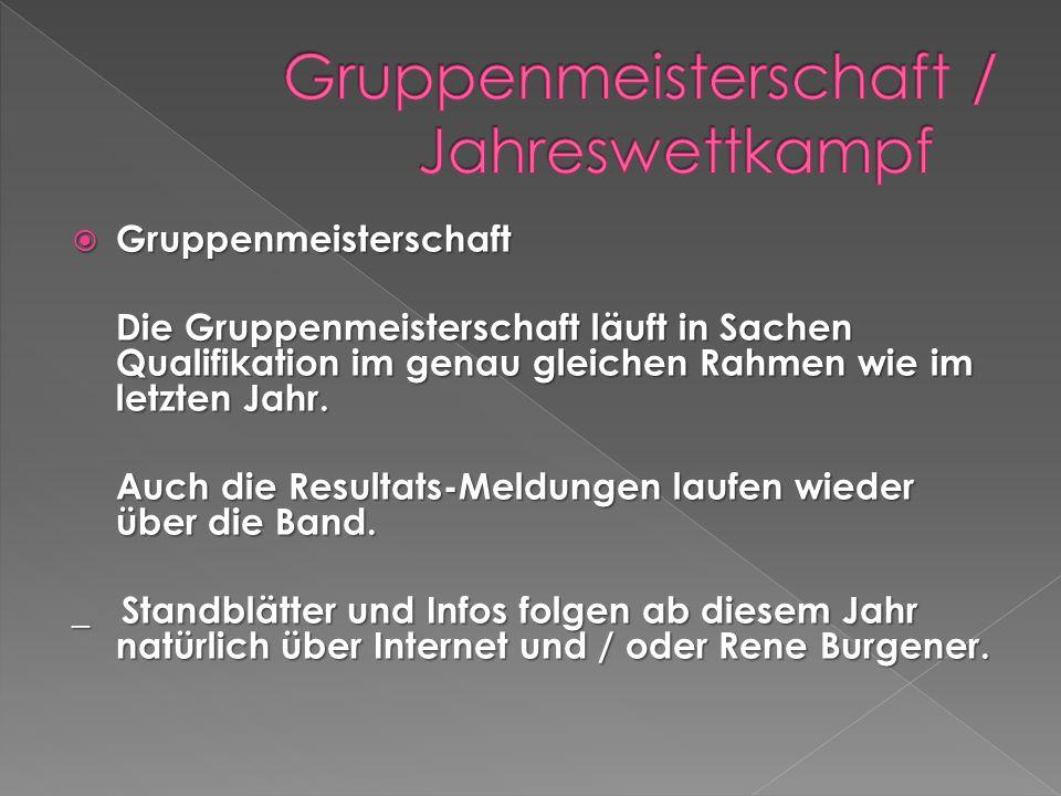 Gruppenmeisterschaft Gruppenmeisterschaft Die Gruppenmeisterschaft läuft in Sachen Qualifikation im genau gleichen Rahmen wie im letzten Jahr.