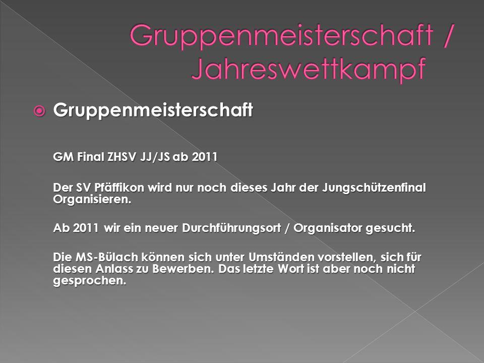 Gruppenmeisterschaft Gruppenmeisterschaft GM Final ZHSV JJ/JS ab 2011 Der SV Pfäffikon wird nur noch dieses Jahr der Jungschützenfinal Organisieren.