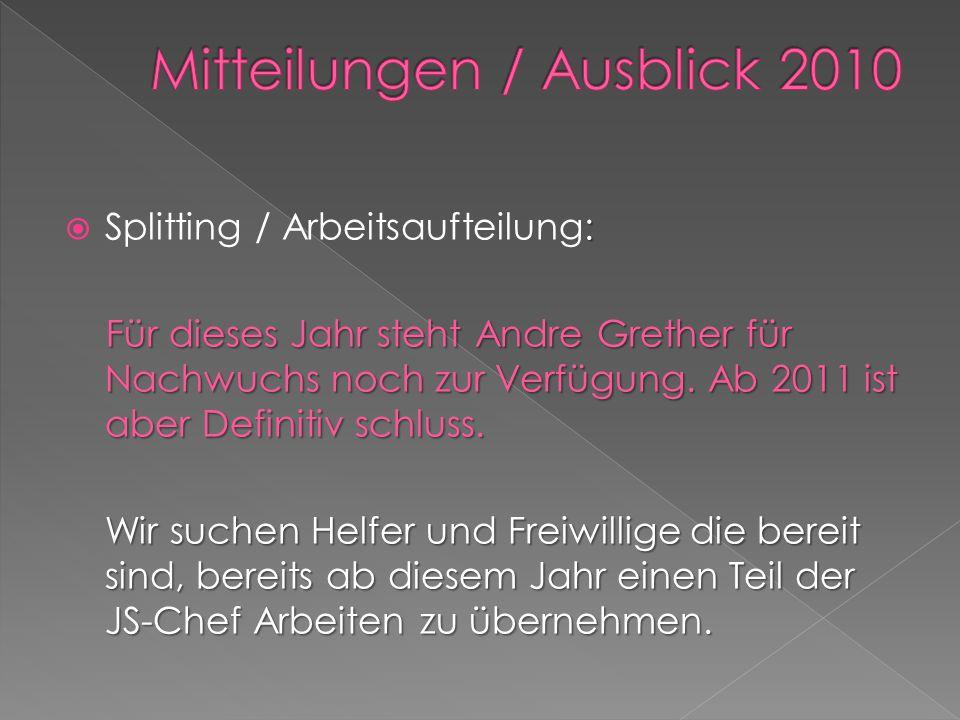 : Splitting / Arbeitsaufteilung: Für dieses Jahr steht Andre Grether für Nachwuchs noch zur Verfügung.