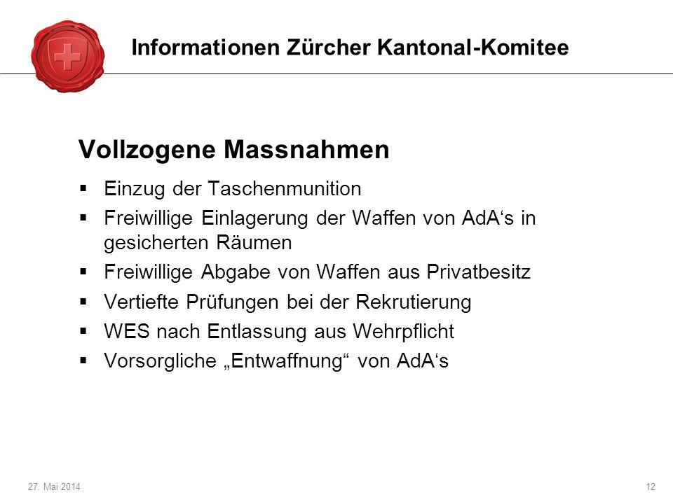 27. Mai 201412 Vollzogene Massnahmen Einzug der Taschenmunition Freiwillige Einlagerung der Waffen von AdAs in gesicherten Räumen Freiwillige Abgabe v