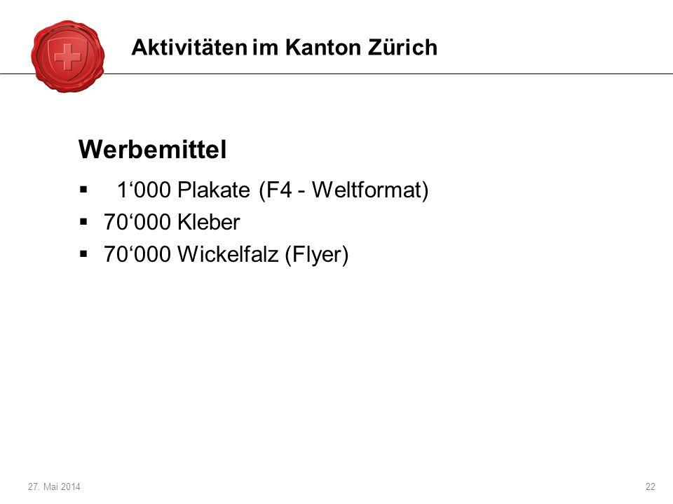 27. Mai 201422 Werbemittel 1000 Plakate (F4 - Weltformat) 70000 Kleber 70000 Wickelfalz (Flyer) Aktivitäten im Kanton Zürich