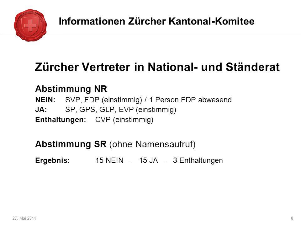 27. Mai 20148 Zürcher Vertreter in National- und Ständerat Abstimmung NR NEIN:SVP, FDP (einstimmig) / 1 Person FDP abwesend JA:SP, GPS, GLP, EVP (eins