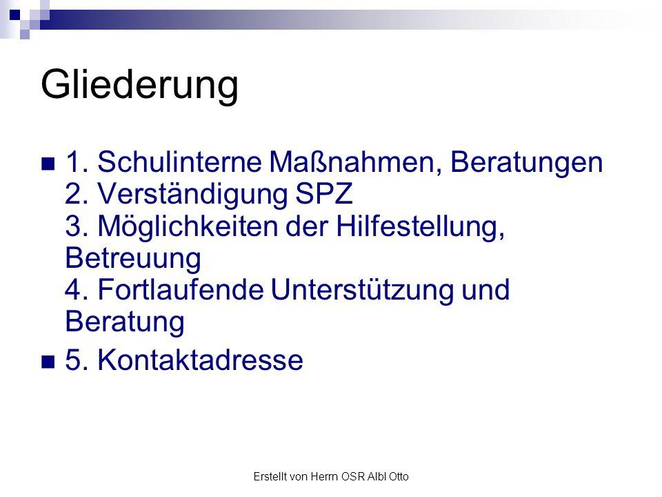 Erstellt von Herrn OSR Albl Otto Schulinterne Maßnahmen Beratung im Lehrerteam mit Leitung Elterngespräch (Problemstellung erklären) Außerschulische Hilfestellungen möglich.