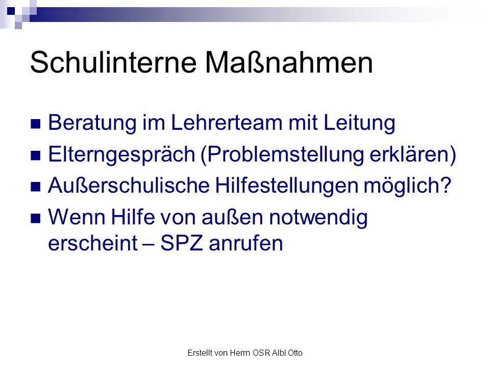 Erstellt von Herrn OSR Albl Otto SPZ Kontakt Anruf, e-mail … Problem konkretisieren.