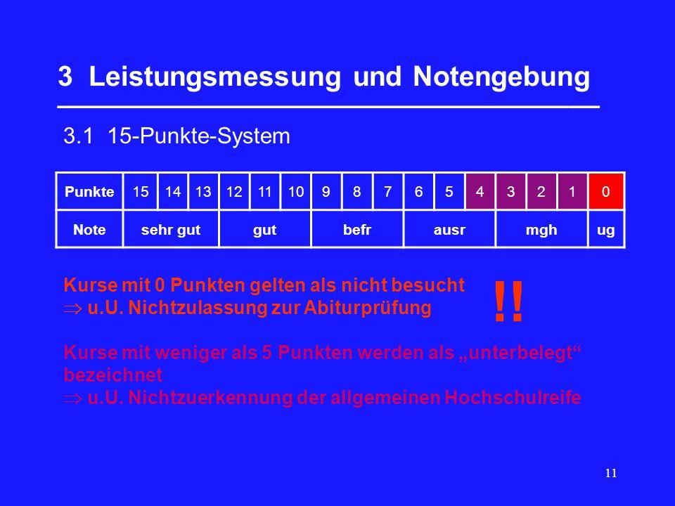 11 3 Leistungsmessung und Notengebung ___________________________________ 3.1 15-Punkte-System Punkte1514131211109876543210 Notesehr gutgutbefrausrmghug Kurse mit 0 Punkten gelten als nicht besucht u.U.