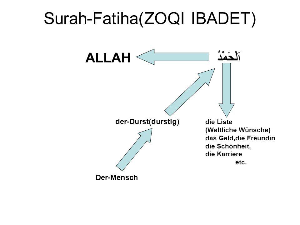 Surah-Fatiha(ZOQI IBADET) ALLAH ا َلْحَمْدُ der-Durst(durstig) die Liste (Weltliche Wünsche) das Geld,die Freundin die Schönheit, die Karriere etc.