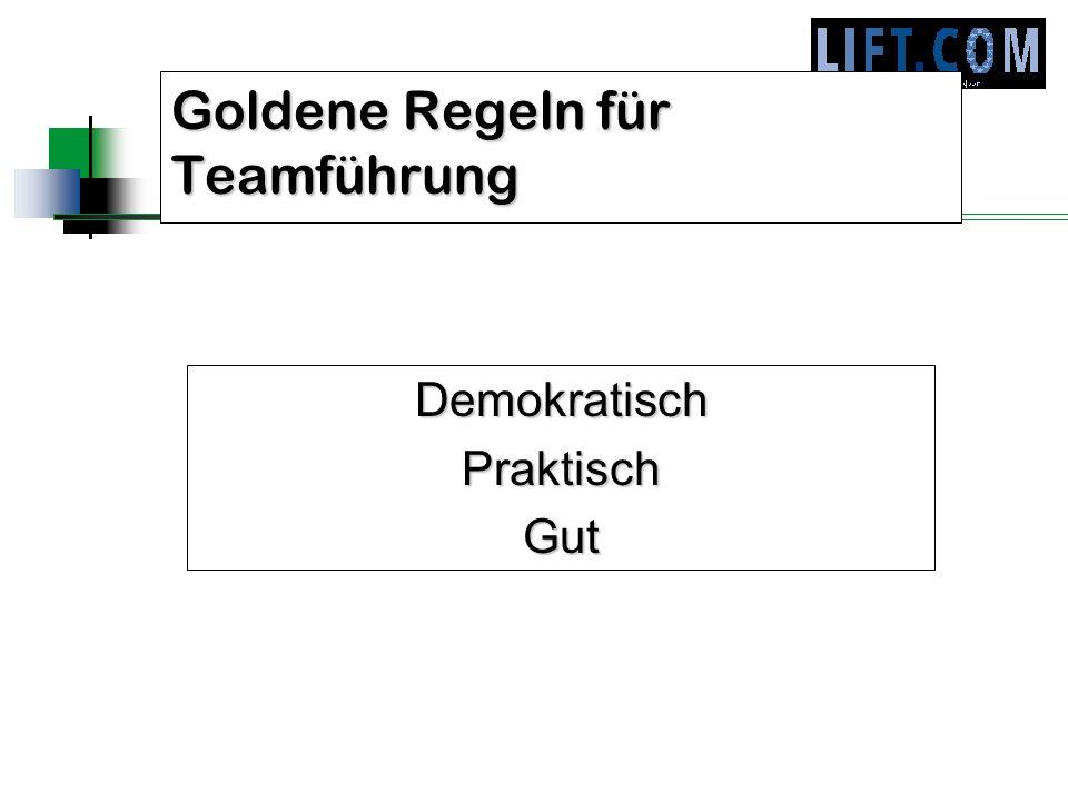 Goldene Regeln für Teamführung DemokratischPraktischGut