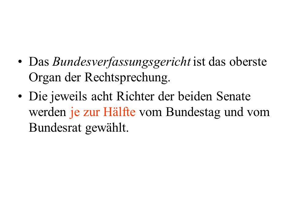 Das Bundesverfassungsgericht ist das oberste Organ der Rechtsprechung. Die jeweils acht Richter der beiden Senate werden je zur Hälfte vom Bundestag u