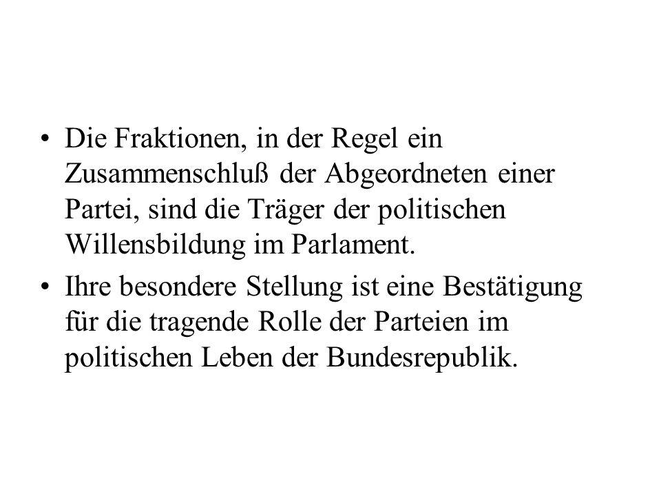 Für die Dauer einer Wahlperiode werden ständige Ausschüsse eingesetzt, in denen die Franktionen entsprechend ihrer Stärke verteten sind.