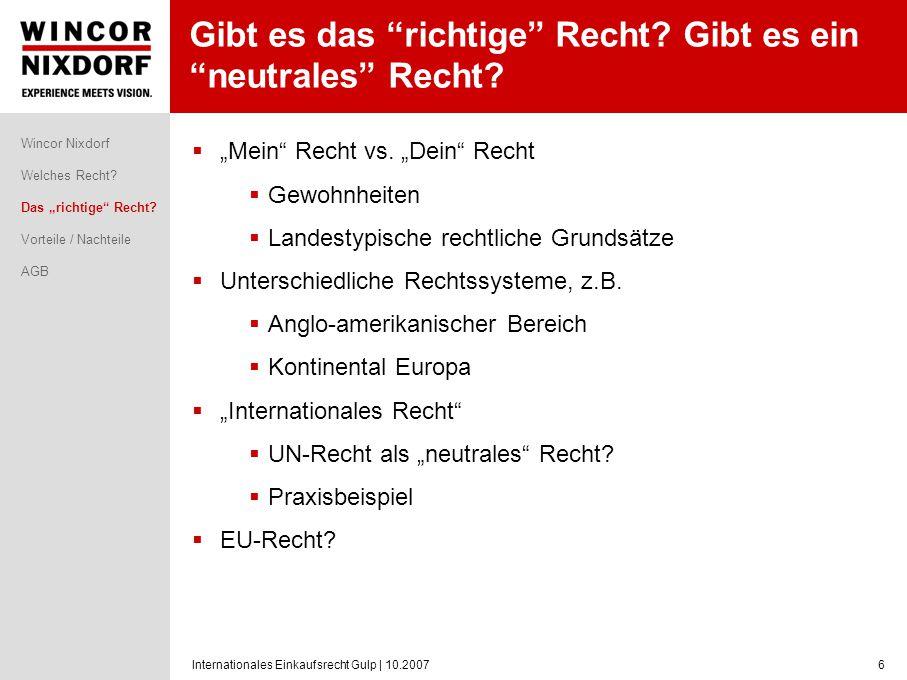 Internationales Einkaufsrecht Gulp   10.20077 Vorteile / Nachteile bzgl.