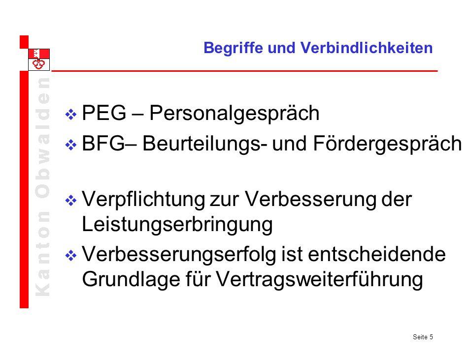 Seite 5 Begriffe und Verbindlichkeiten PEG – Personalgespräch BFG– Beurteilungs- und Fördergespräch Verpflichtung zur Verbesserung der Leistungserbrin