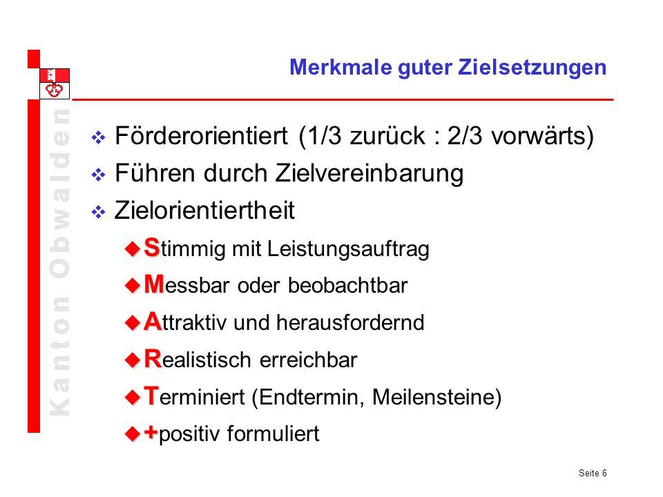 Seite 6 Merkmale guter Zielsetzungen Förderorientiert (1/3 zurück : 2/3 vorwärts) Führen durch Zielvereinbarung Zielorientiertheit S S timmig mit Leis
