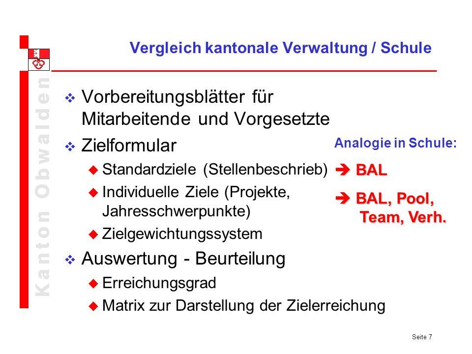 Seite 7 Vergleich kantonale Verwaltung / Schule Vorbereitungsblätter für Mitarbeitende und Vorgesetzte Zielformular Standardziele (Stellenbeschrieb) I