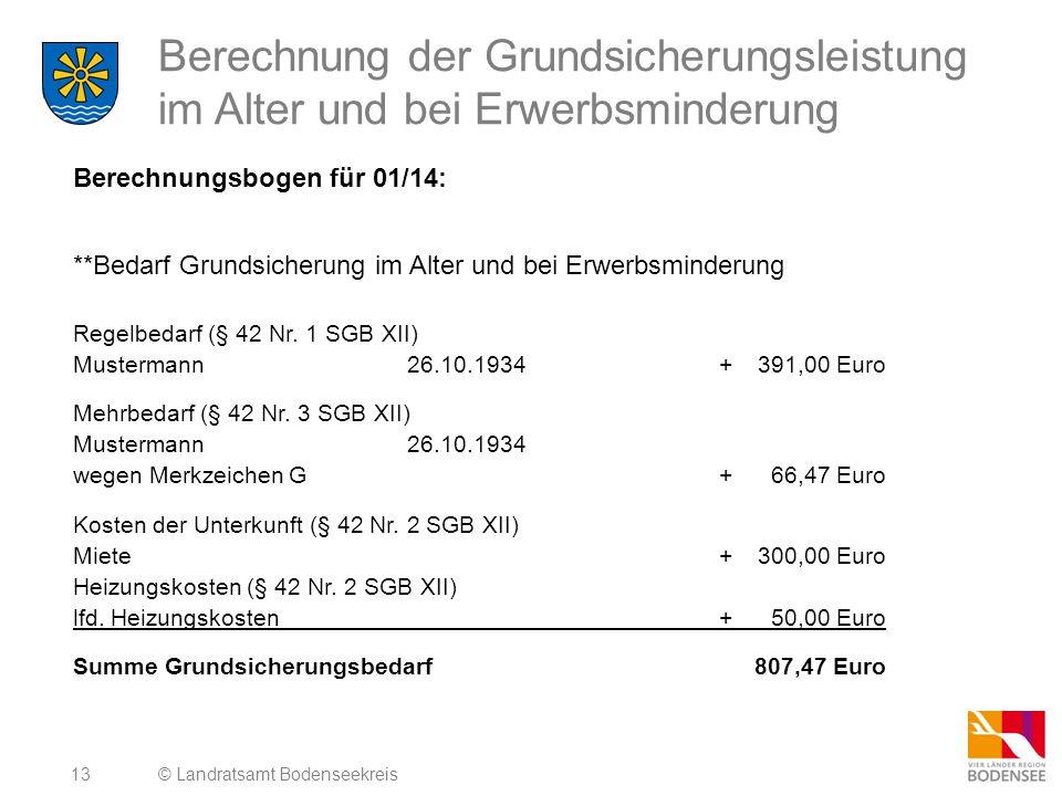 14 Berechnung der Grundsicherungsleistung im Alter und bei Erwerbsminderung Berechnungsbogen für 01/14: **Einkommen Einkünfte (§ 82 Abs.