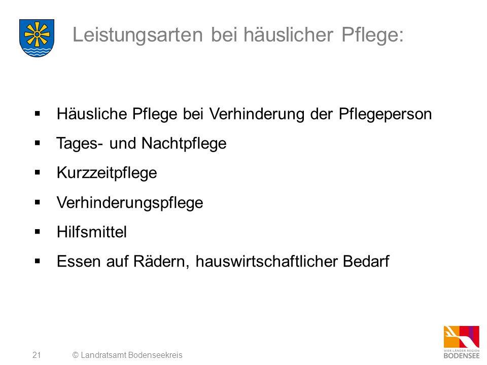 22 Leistungen der Pflegeversicherung ab 01.01.2013 © Landratsamt Bodenseekreis