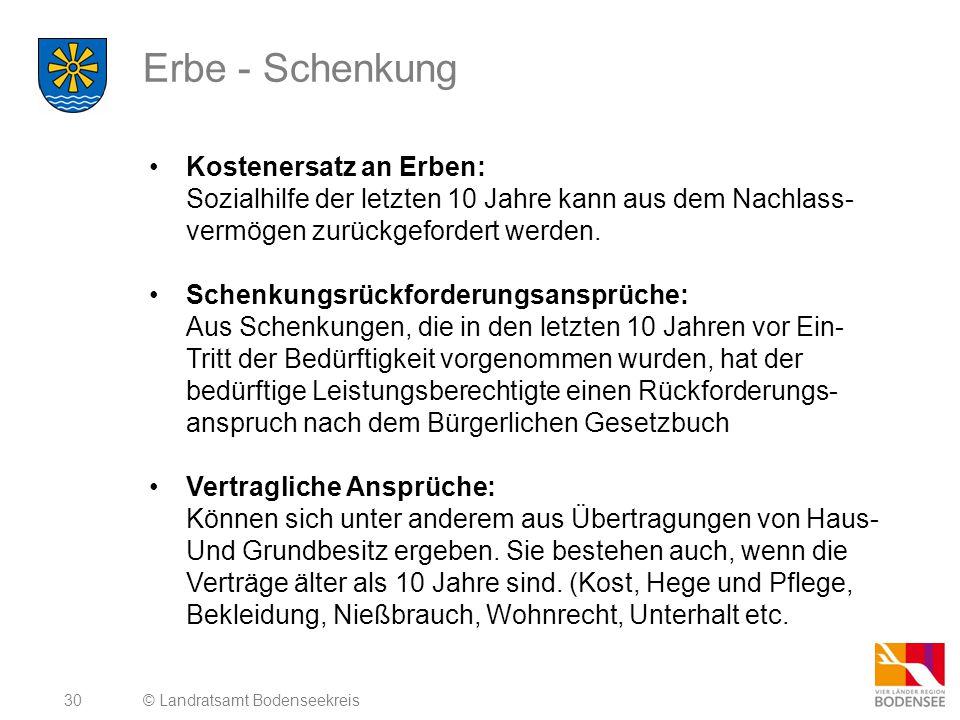 30 Erbe - Schenkung © Landratsamt Bodenseekreis Kostenersatz an Erben: Sozialhilfe der letzten 10 Jahre kann aus dem Nachlass- vermögen zurückgeforder