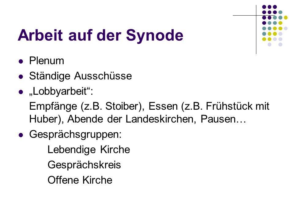 Arbeit auf der Synode Plenum Ständige Ausschüsse Lobbyarbeit: Empfänge (z.B.