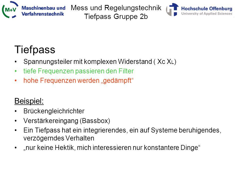 Mess und Regelungstechnik Tiefpass Gruppe 2b Herleitung der Übertragungsfunktion Tiefpass 1.