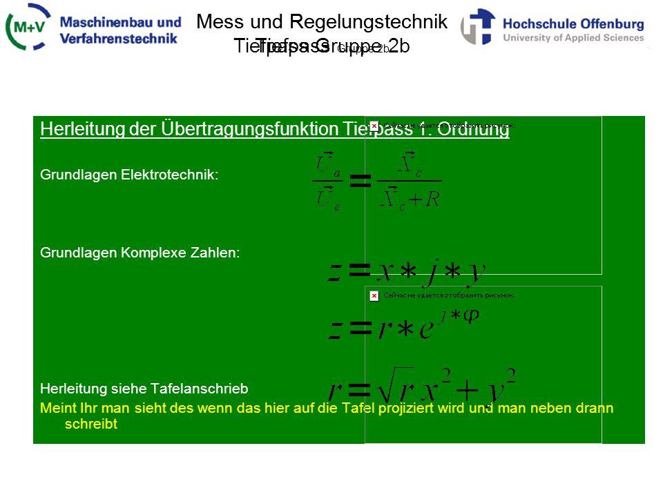 Mess und Regelungstechnik Tiefpass Gruppe 2b Herleitung der Übertragungsfunktion Tiefpass 1. Ordnung Grundlagen Elektrotechnik: Grundlagen Komplexe Za