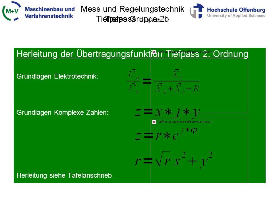 Mess und Regelungstechnik Tiefpass Gruppe 2b Herleitung der Übertragungsfunktion Tiefpass 2. Ordnung Grundlagen Elektrotechnik: Grundlagen Komplexe Za