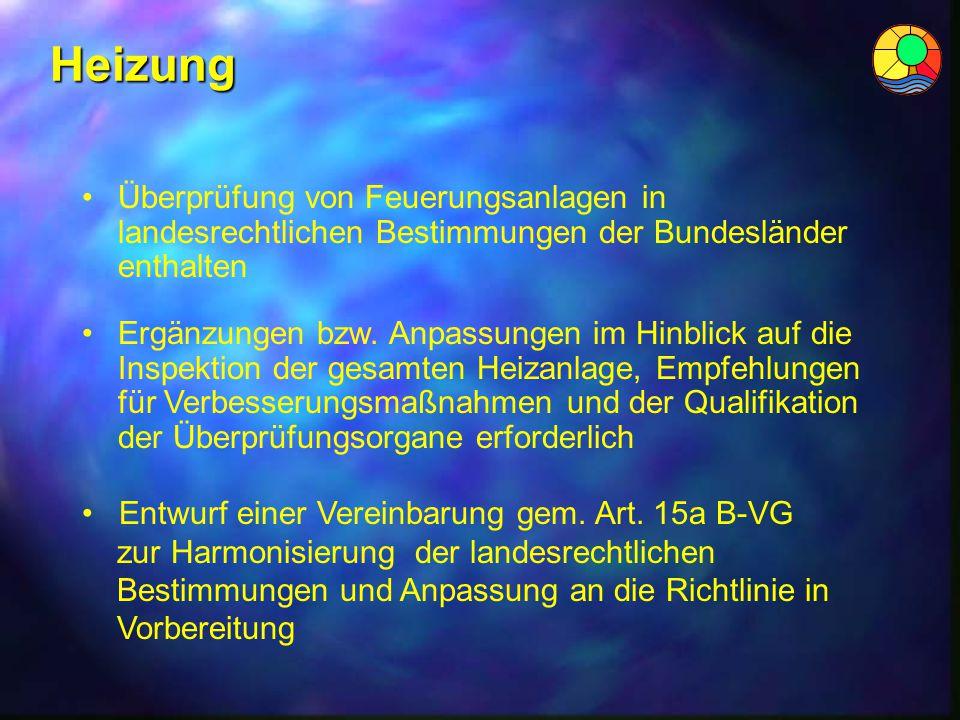 Heizung Entwurf einer Vereinbarung gem. Art. 15a B-VG zur Harmonisierung der landesrechtlichen Bestimmungen und Anpassung an die Richtlinie in Vorbere