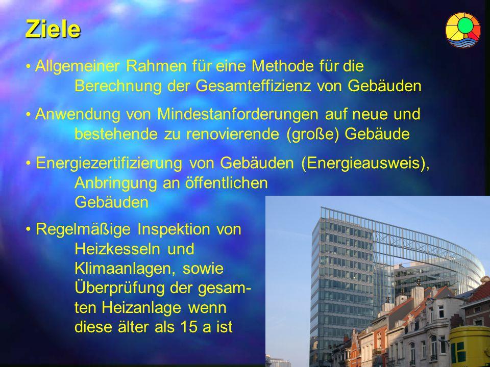 Ziele Allgemeiner Rahmen für eine Methode für die Berechnung der Gesamteffizienz von Gebäuden Energiezertifizierung von Gebäuden (Energieausweis), Anb