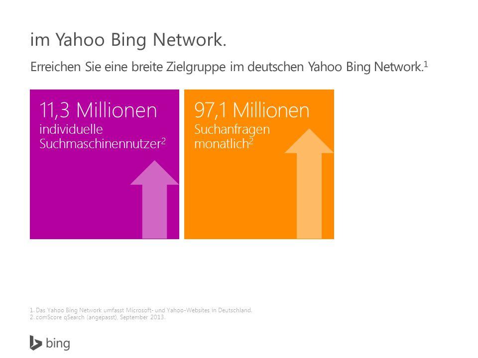 1. Das Yahoo Bing Network umfasst Microsoft- und Yahoo-Websites in Deutschland.
