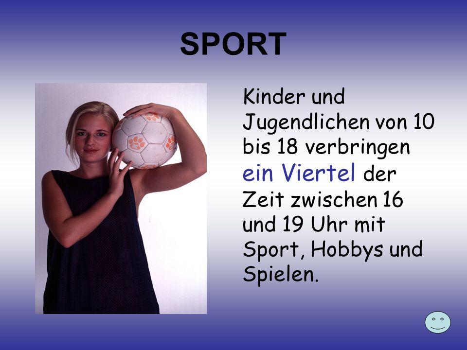SPORT Kinder und Jugendlichen von 10 bis 18 verbringen ein Viertel der Zeit zwischen 16 und 19 Uhr mit Sport, Hobbys und Spielen.