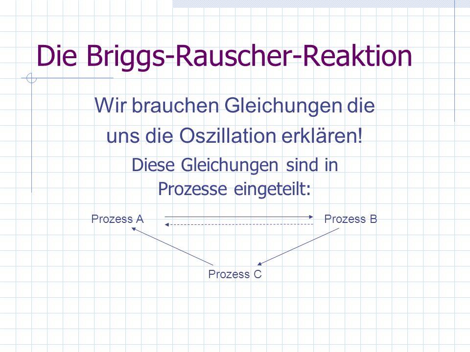 Prozess A I - +IO 3 - +2H 3 O + I - +HIO 2 +H 3 O + 3I - +3HOI+3H 3 O + 5I - +IO 3 - +6H 3 O + HIO 2 +HOI+2H 2 O 2HOI+H 2 O 3I 2 +6H 2 O 3I 2 +9H 2 O 3I 2 +3CH 2 (COOH) 2 +3H 2 O3ICH(COOH) 2 +3I - +3H 3 O + A1 A2 WICHTIG!!.