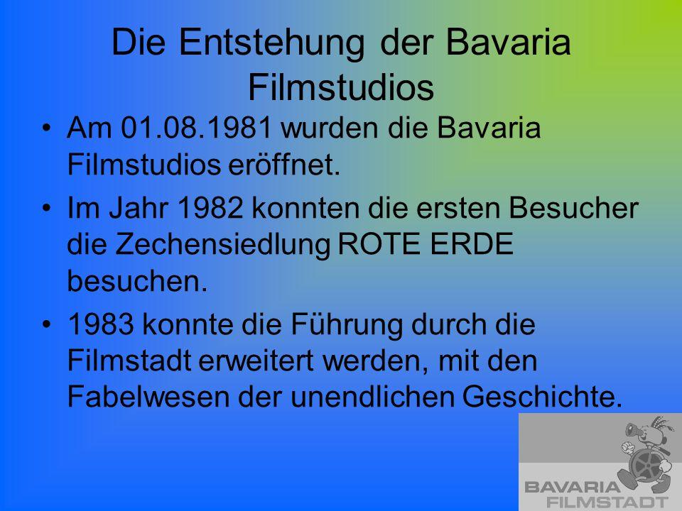 Die Entstehung der Bavaria Filmstudios Am 01.08.1981 wurden die Bavaria Filmstudios eröffnet. Im Jahr 1982 konnten die ersten Besucher die Zechensiedl