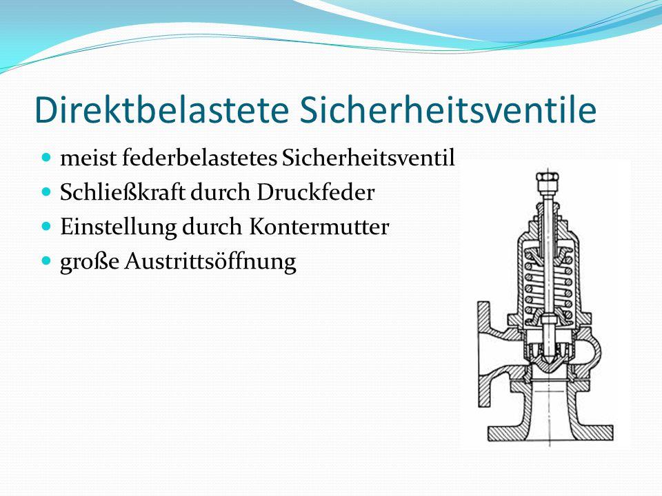 Gesteuerte Sicherheitsventile besteht aus Ventil und Steuereinrichtung federbelastet + zusätzliche Schließkraft pneumatisch hydraulisch elektromagnetisch