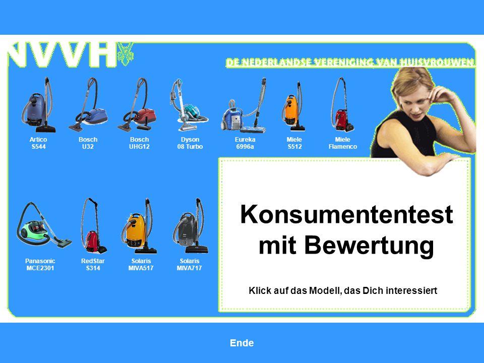 Konsumententest mit Bewertung Bosch U32 Bosch UHG12 Klick auf das Modell, das Dich interessiert Miele S512 Dyson 08 Turbo Eureka 6996a Artico S544 Mie