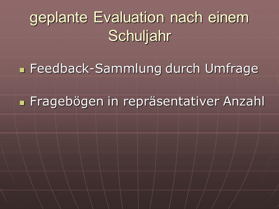 geplante Evaluation nach einem Schuljahr Feedback-Sammlung durch Umfrage Feedback-Sammlung durch Umfrage Fragebögen in repräsentativer Anzahl Fragebög