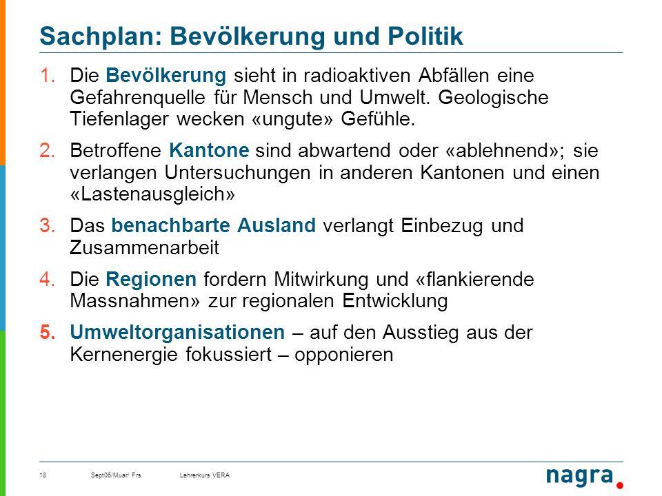 Sept06/Muar/ FrsLehrerkurs VERA18 Sachplan: Bevölkerung und Politik 1.Die Bevölkerung sieht in radioaktiven Abfällen eine Gefahrenquelle für Mensch un