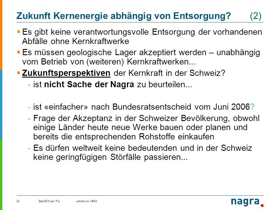 Sept06/Muar/ FrsLehrerkurs VERA24 Zukunft Kernenergie abhängig von Entsorgung? (2) Es gibt keine verantwortungsvolle Entsorgung der vorhandenen Abfäll