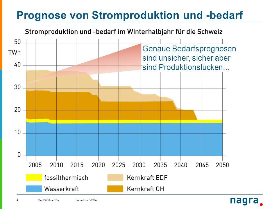 Sept06/Muar/ FrsLehrerkurs VERA4 Prognose von Stromproduktion und -bedarf Genaue Bedarfsprognosen sind unsicher, sicher aber sind Produktionslücken...