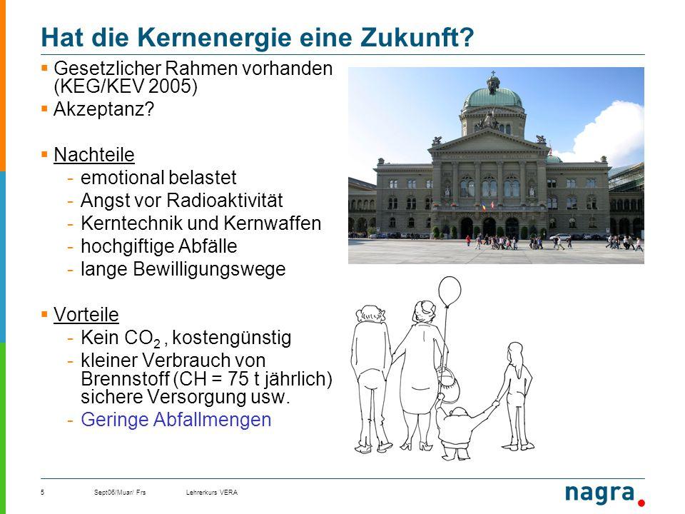 Sept06/Muar/ FrsLehrerkurs VERA5 Hat die Kernenergie eine Zukunft? Gesetzlicher Rahmen vorhanden (KEG/KEV 2005) Akzeptanz? Nachteile -emotional belast